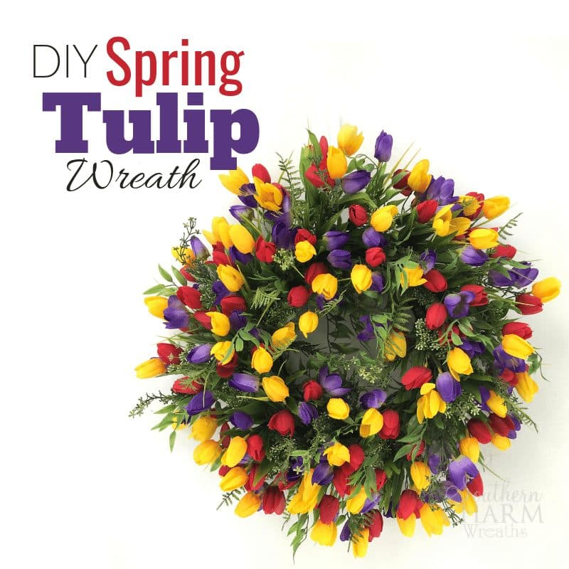 How to make an Easy Spring Tulip Wreath for Front Door by Southern Charm Wreaths.