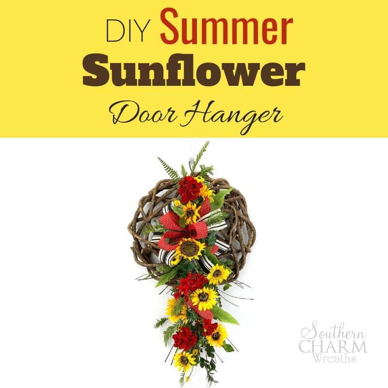 DIY Video Silk Flower Summer Sunflower and Geranium Door Hanger