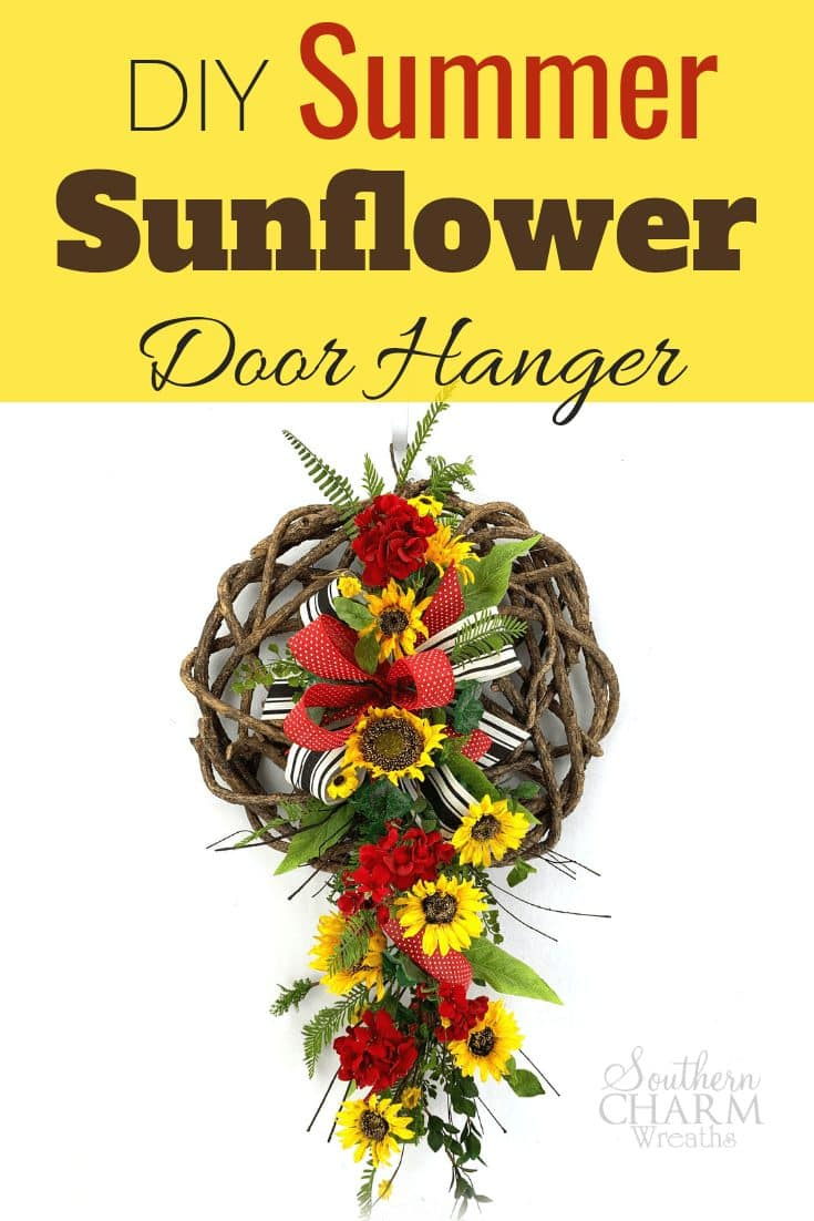 DIY Silk Summer Sunflower and Geranium Door Hanger
