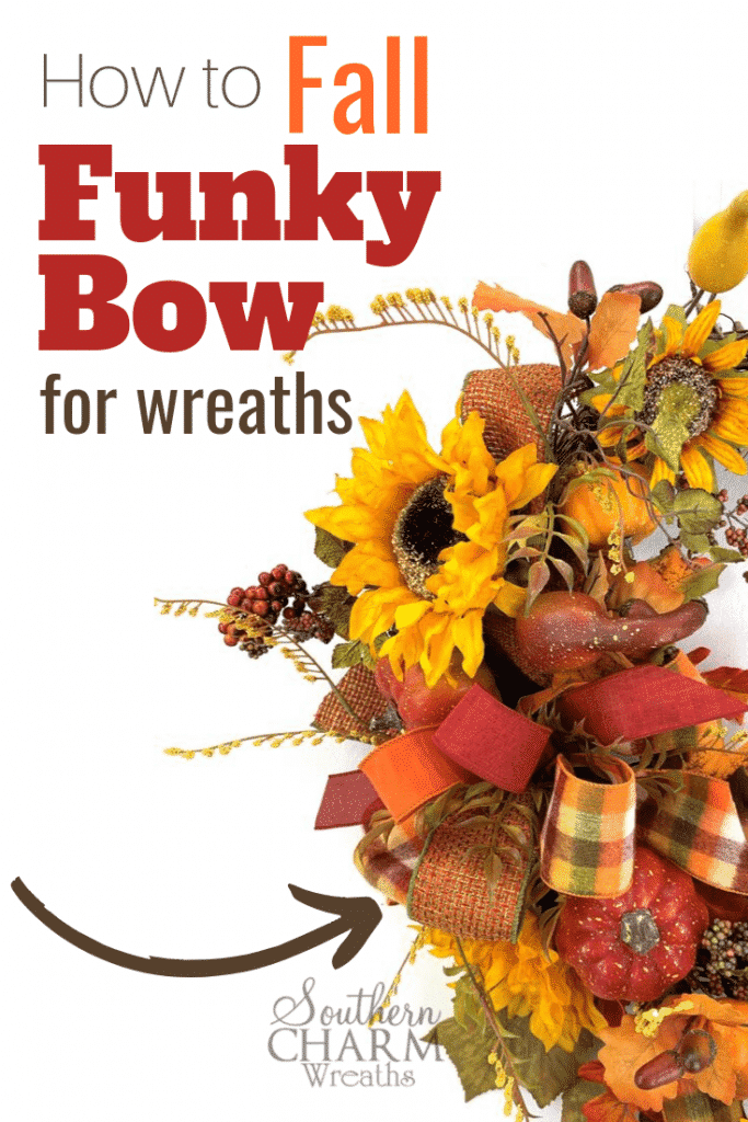 Learn to make a funky bow by hand using scraps of fall ribbon for your fall wreath.