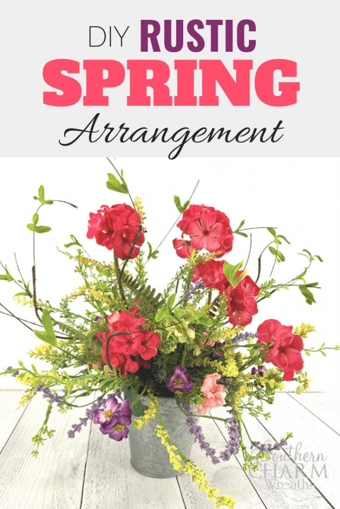 DIY Rustic Spring Arrangement: How to make a centerpiece using a galvanized metal bucket and silk flowers