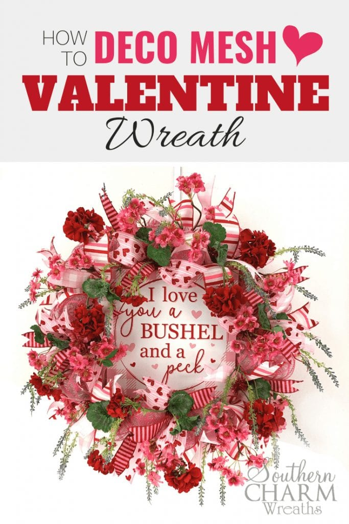 How to make a deco mesh wreath by Southern Charm Wreaths using 10 inch mesh, flowers, ribbon and a sign.
