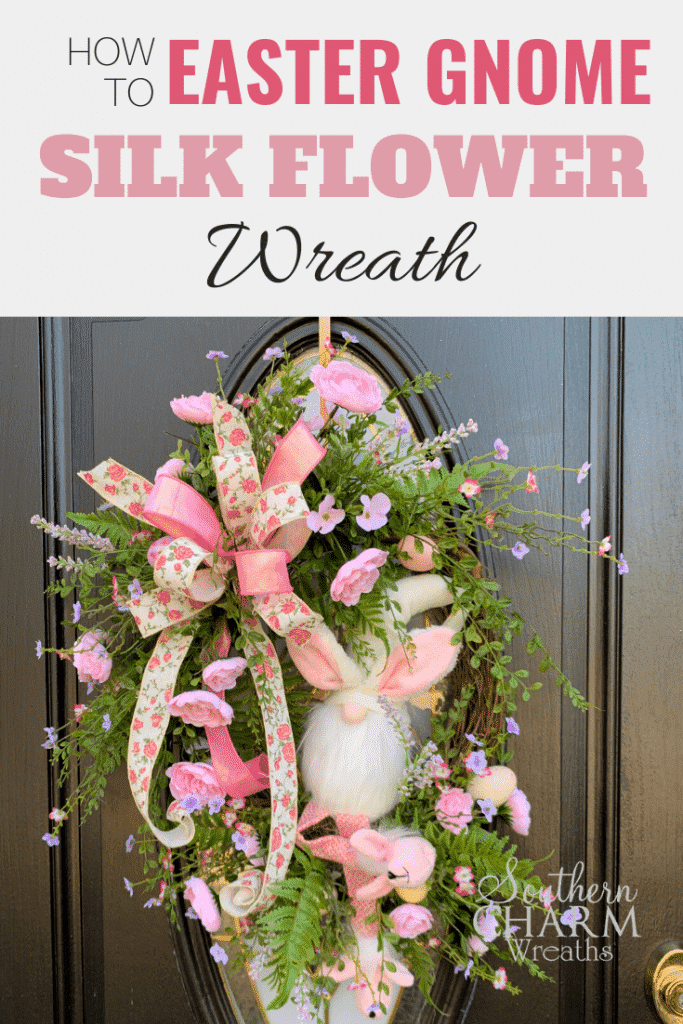 How to Make a Silk Flower Easter Gnome Wreath with grapevine, ribbon, and greenery