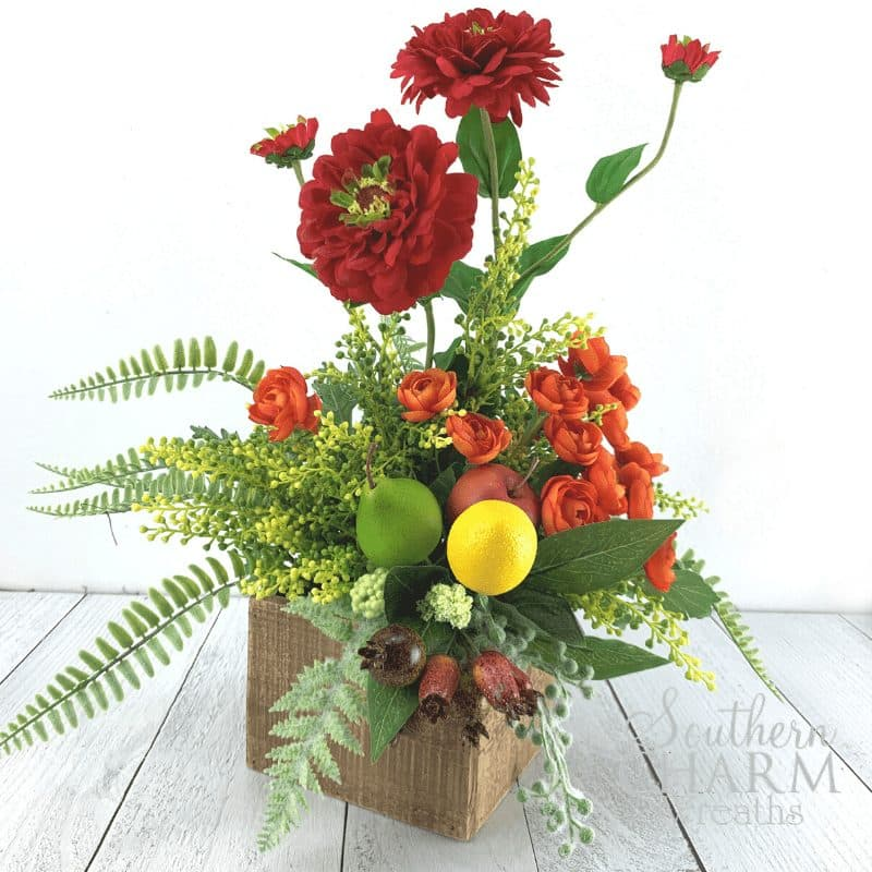 Orange and Red Summer Silk Flower Arrangement using Fruit and Zinnias