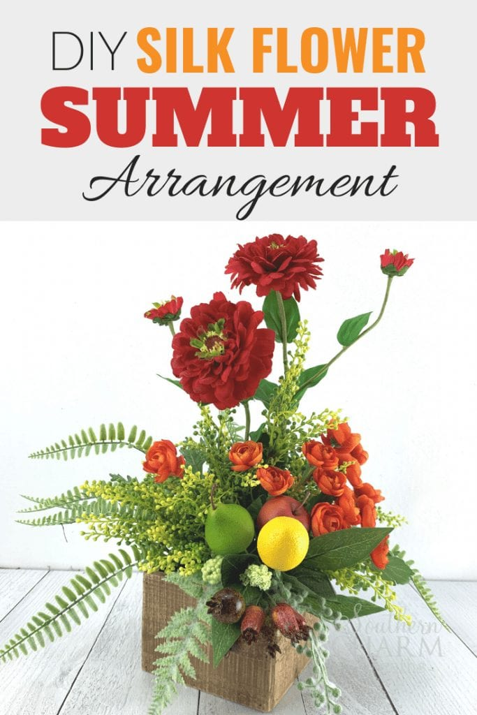 Summer Silk Flower Arrangement with Zinnias