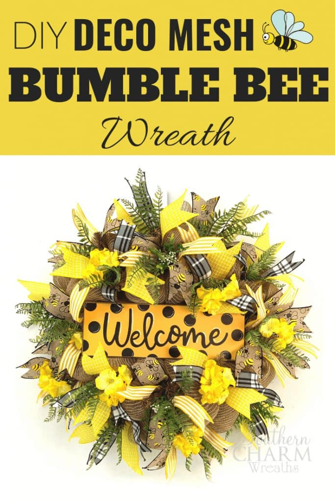 DIY Deco Mesh Bumble Bee Wreath - yellow polka dot wreath with burlap and welcome sign