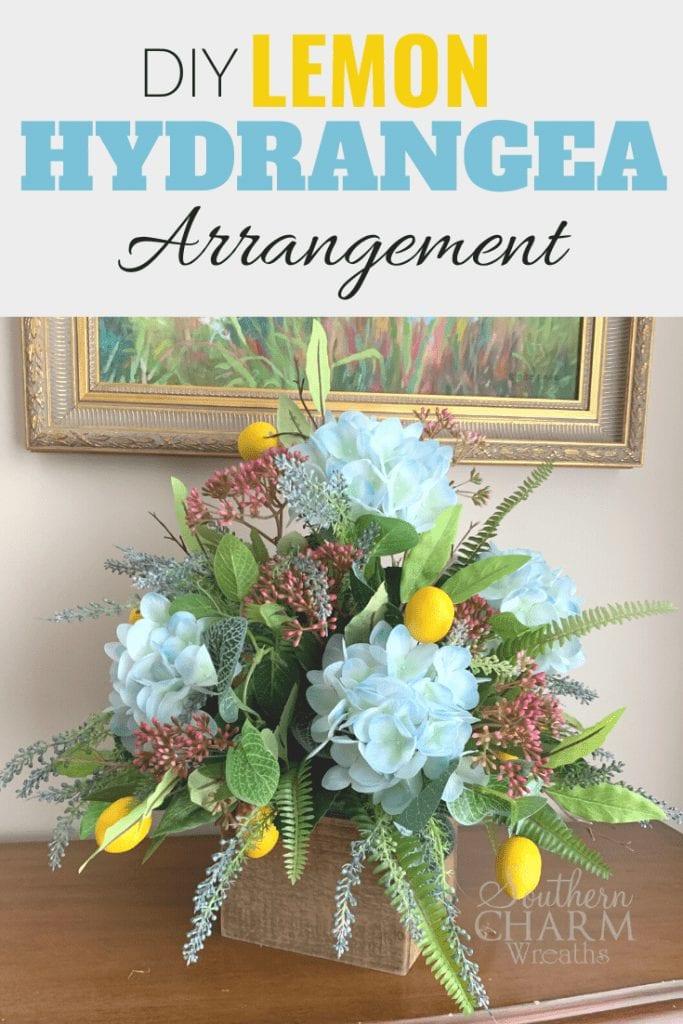 DIY Lemon and Hydrangea Arrangement