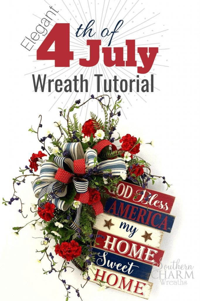Elegant 4th of July Wreath Tutorial oval grapevine wreath with silk flowers and bow