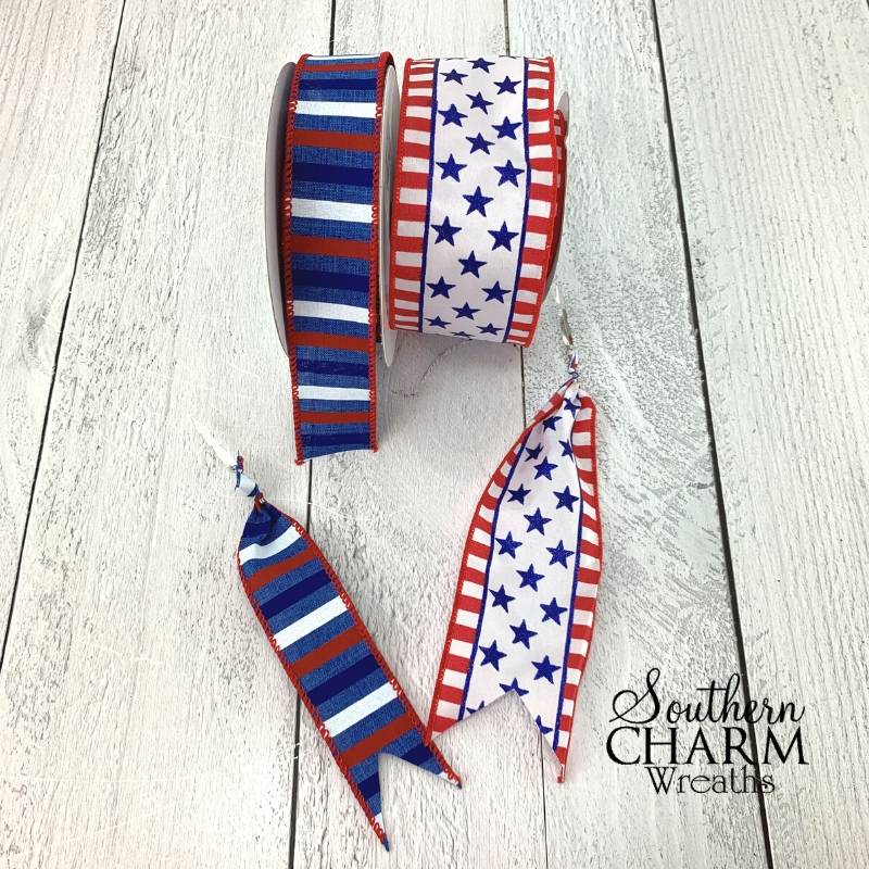 red white and blue ribbon streamers with steel picks