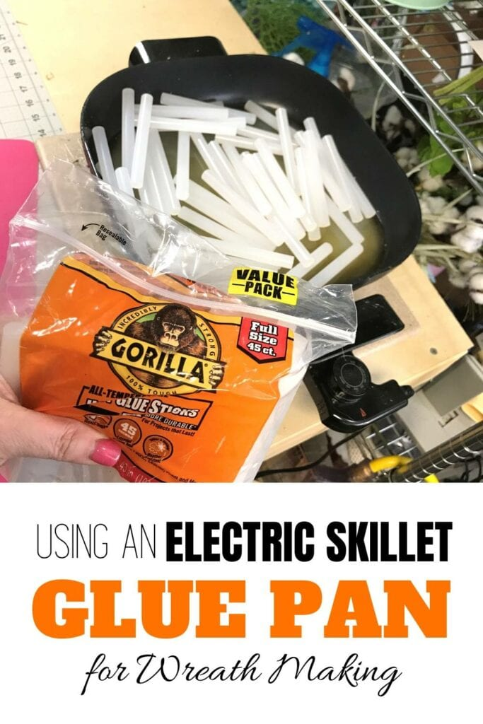 """""""Using an electric skillet glue pan for wreath making"""" glue sticks melting in skillet"""