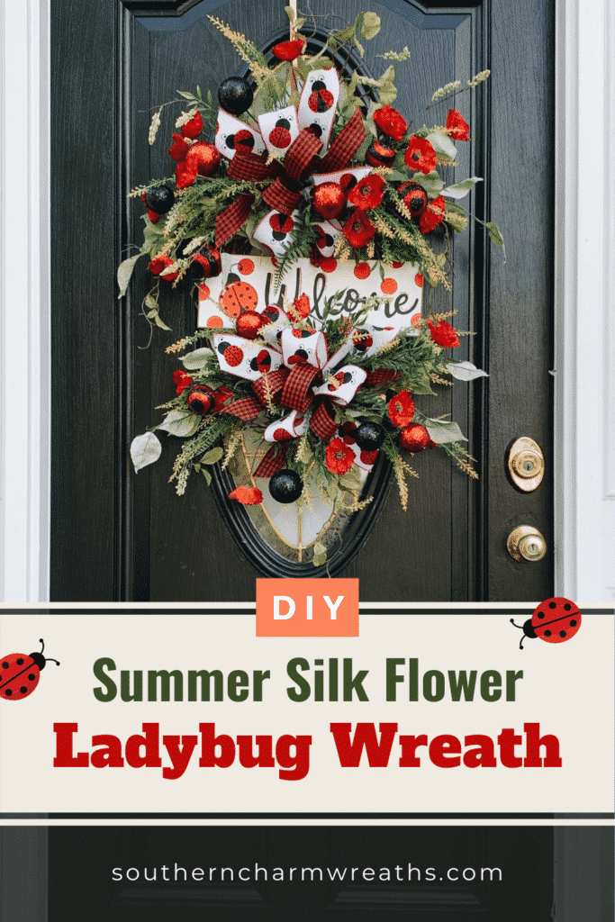 DIY Summer Silk Flower Ladybug Wreath