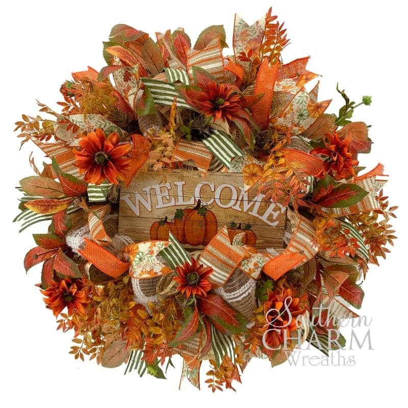 fall deco mesh wreath with welcome sign