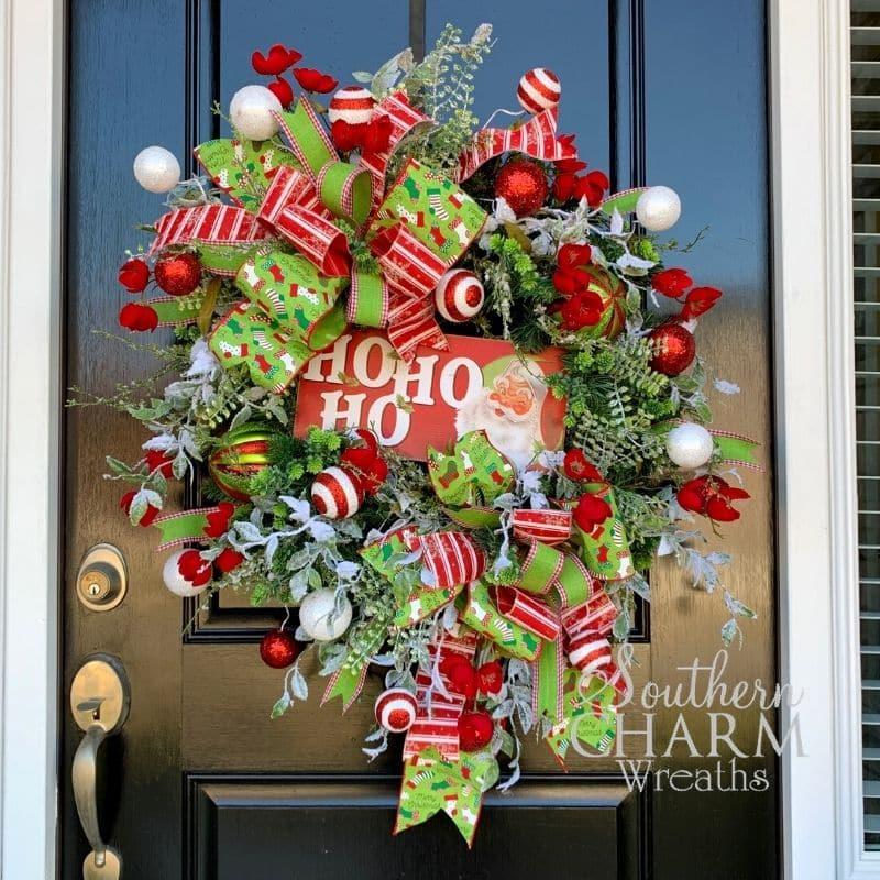 Christmas wreath with ho ho ho sign