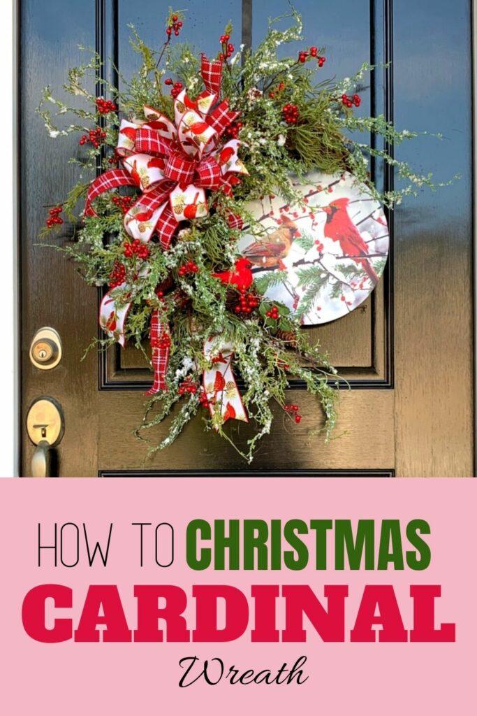 cardinal wreath hanging on a door