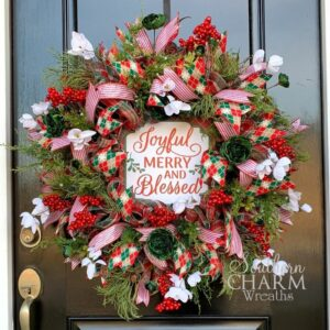 deco mesch christmas wreath with flowers and sign