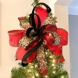 tree topper bow with multiple ribbons