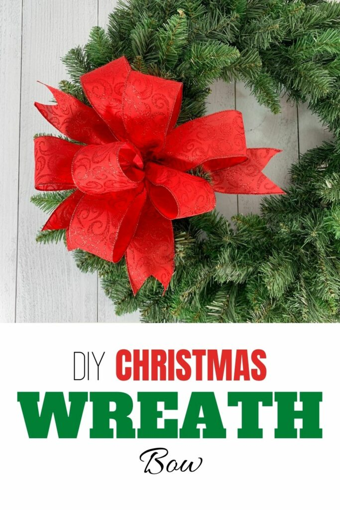 DIY Christmas Wreath Bow - green wreath with red bow