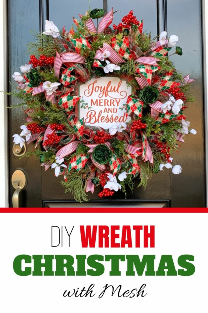 DIY Christmas Wreath with Mesh