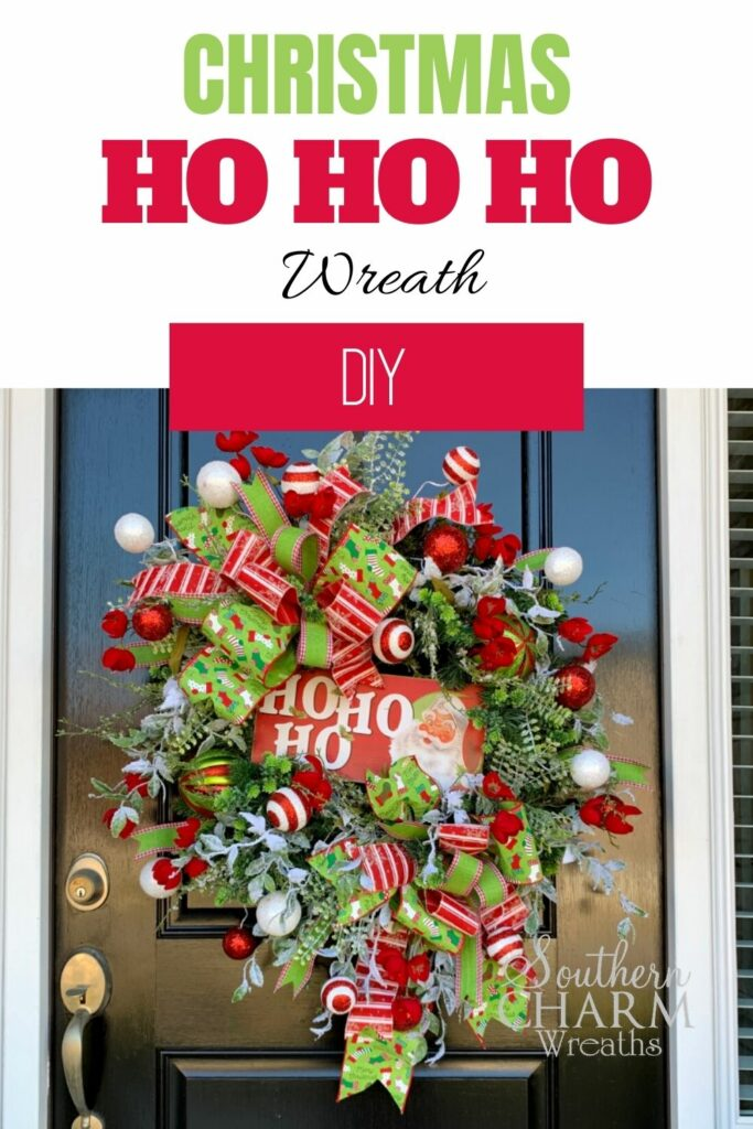 DIY Christmas wreath on a black front door with a ho ho ho sign