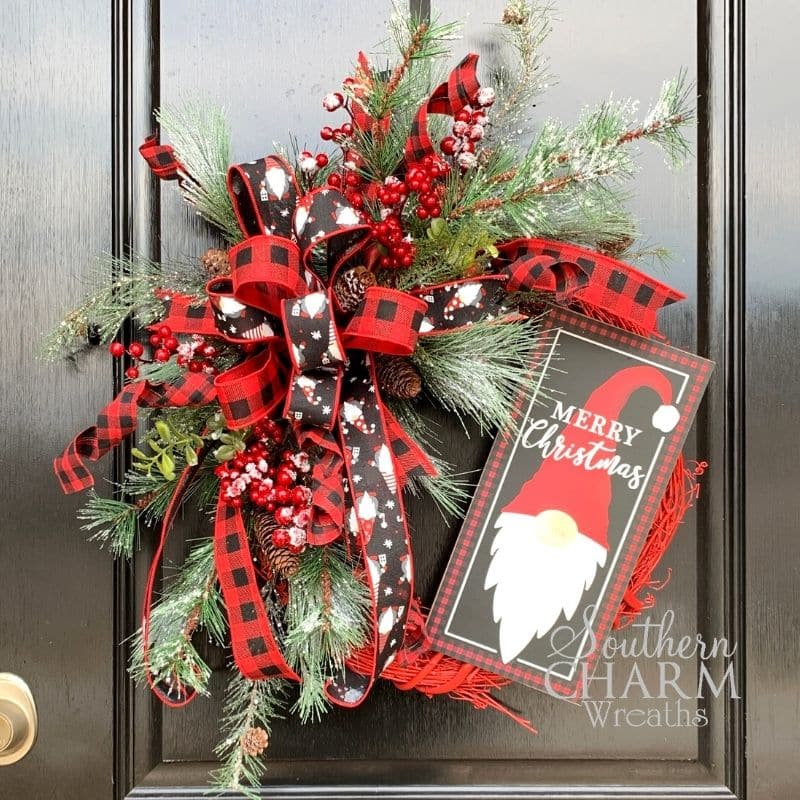 Christmas wreath with gnome sign and biffalo plaid bow