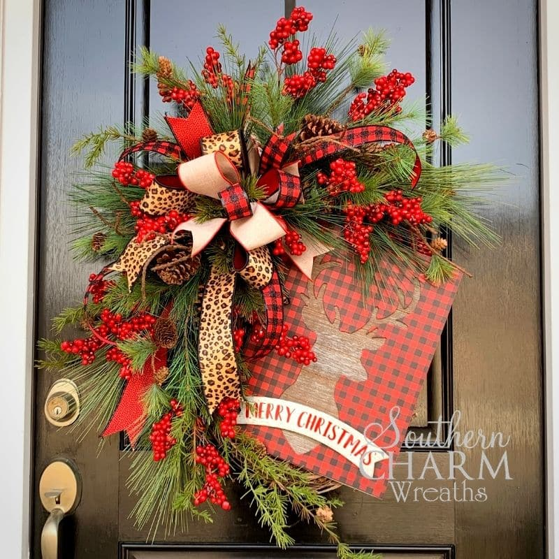 Rustic reindeer christmas wreath with buffalo plaid and cheetah bow