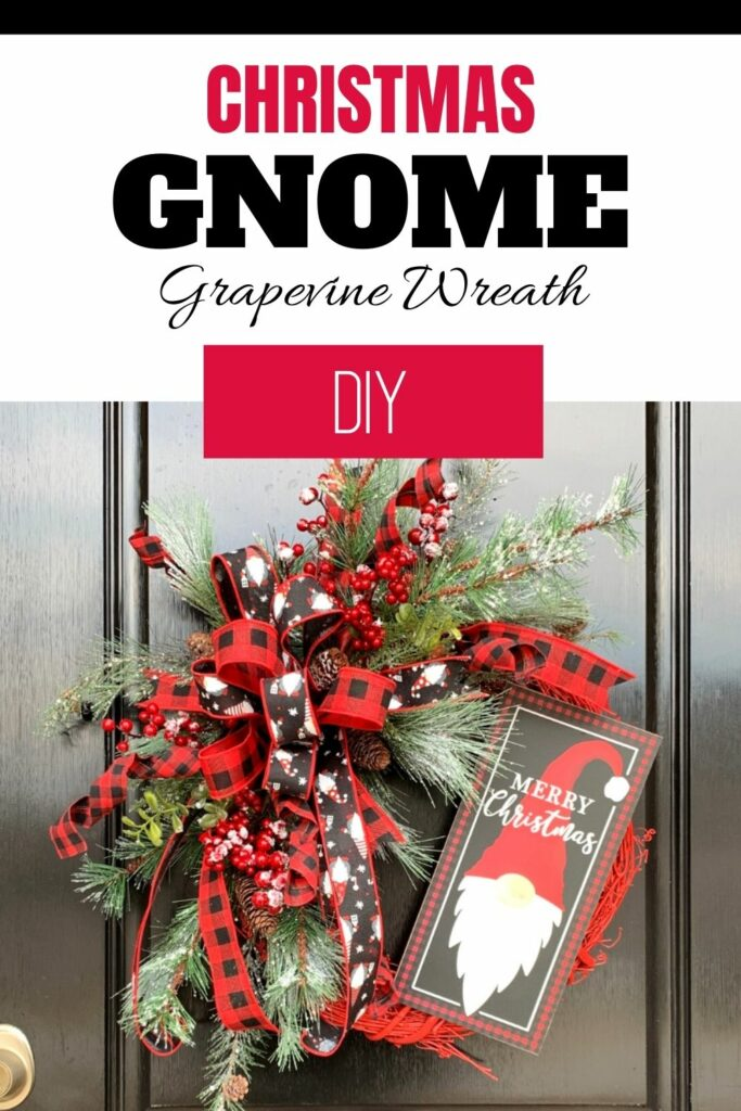 """""""DIY Christmas Gnome Grapevine Wreath"""""""