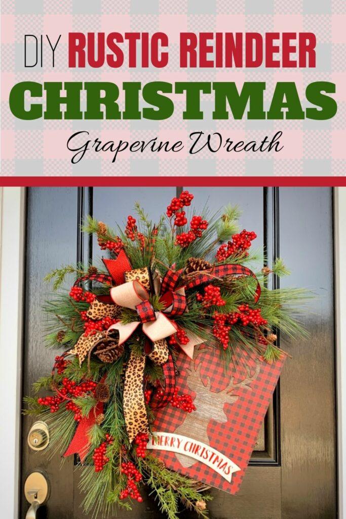 """""""DIY Rustic Reindeer Christmas Grapevine Wreath"""""""