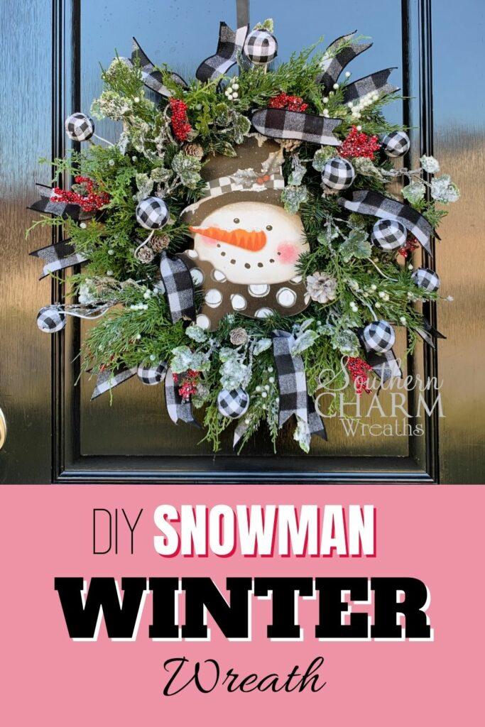 DIY Snowman winter wreath pinterest image