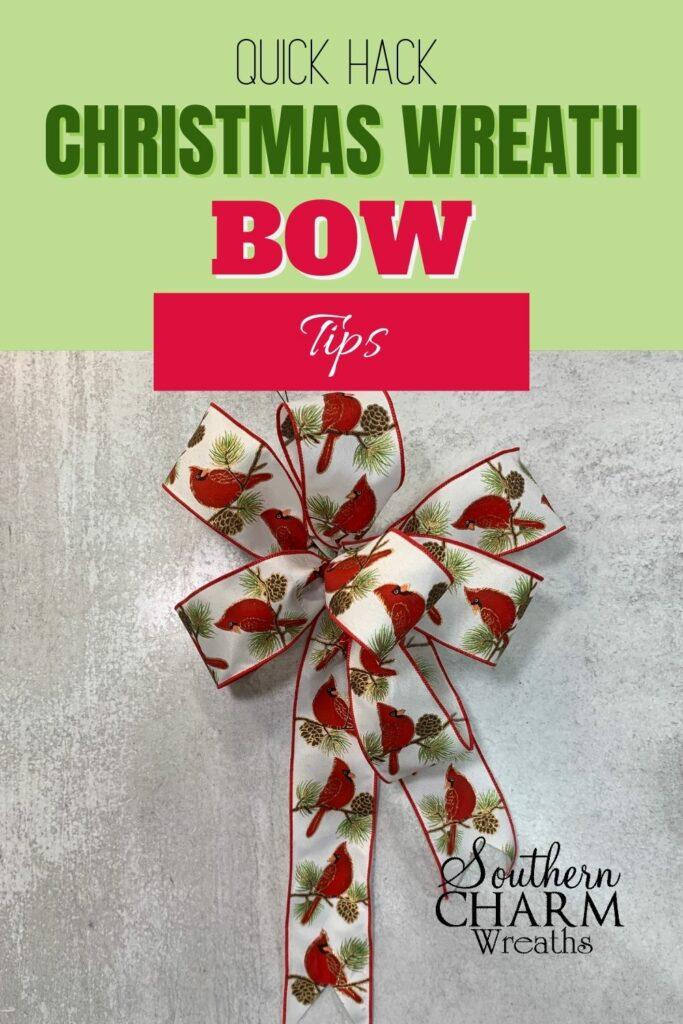 Christmas wreath bow hacks Pinterest image