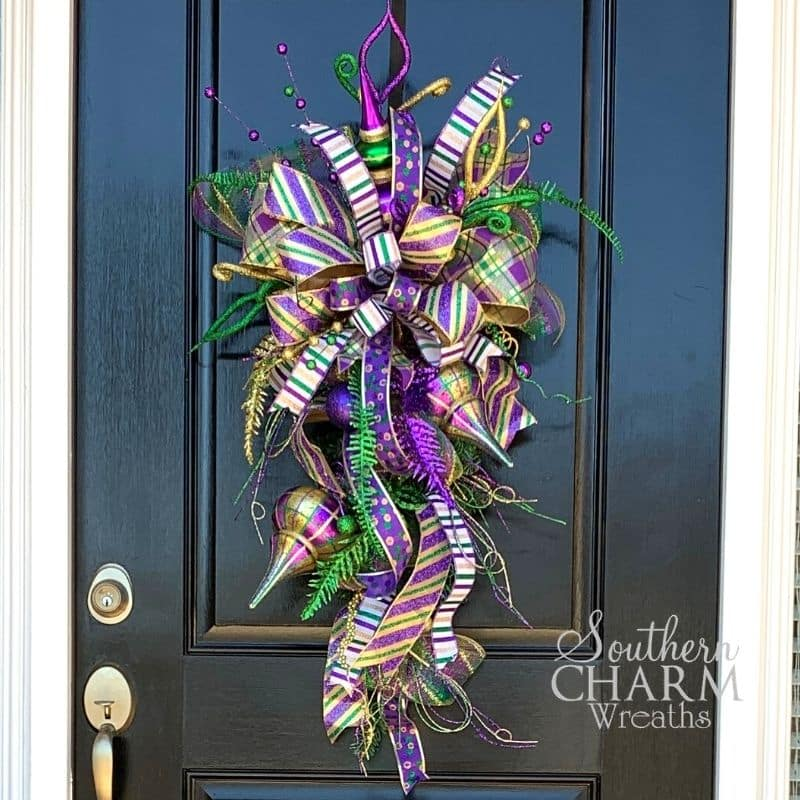 Purple, Green, and Gold Mardi Gras Themed Teardrop Swag on Front Door