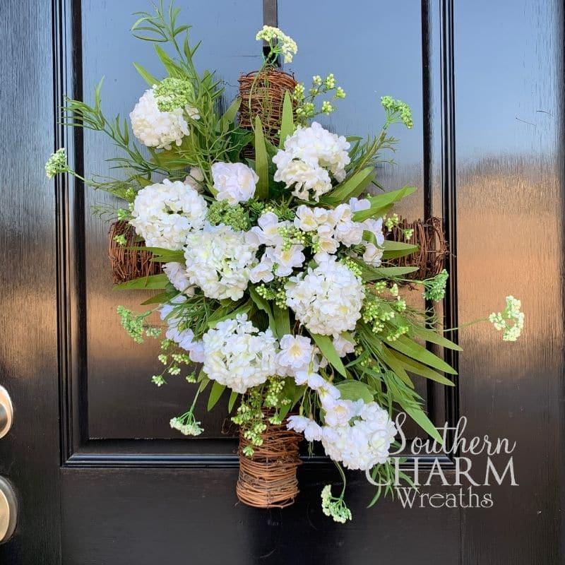 Spring cross wreath for easter or graveside decor