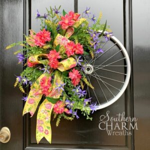 spring kike wheel wreath with bow and silk flowers