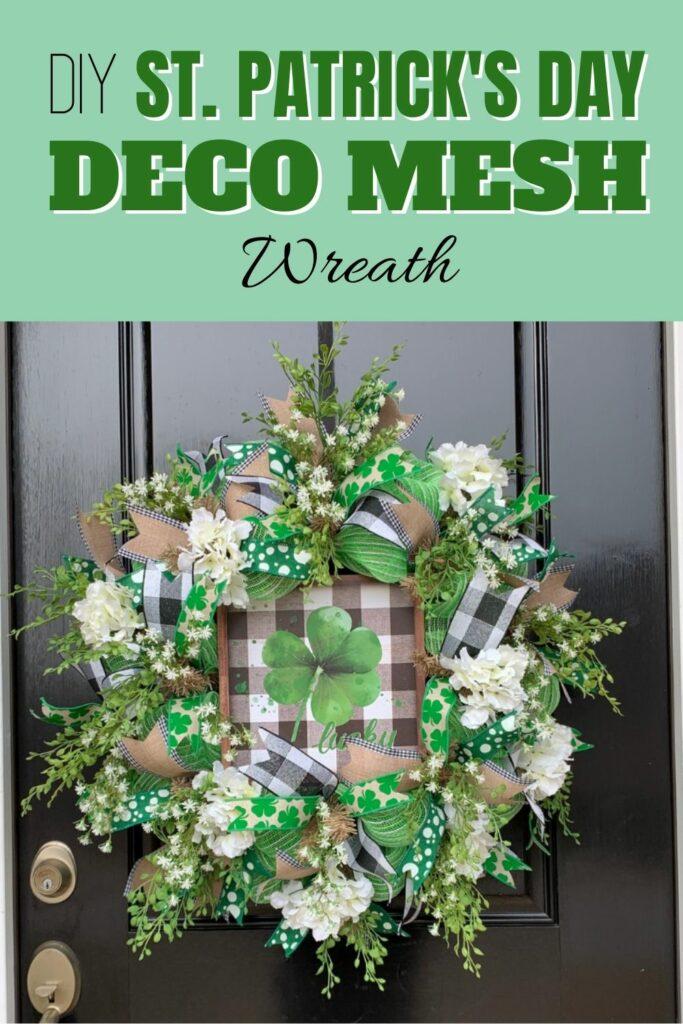 DIY Deco Mesh St. Patrick's Day Door Wreath