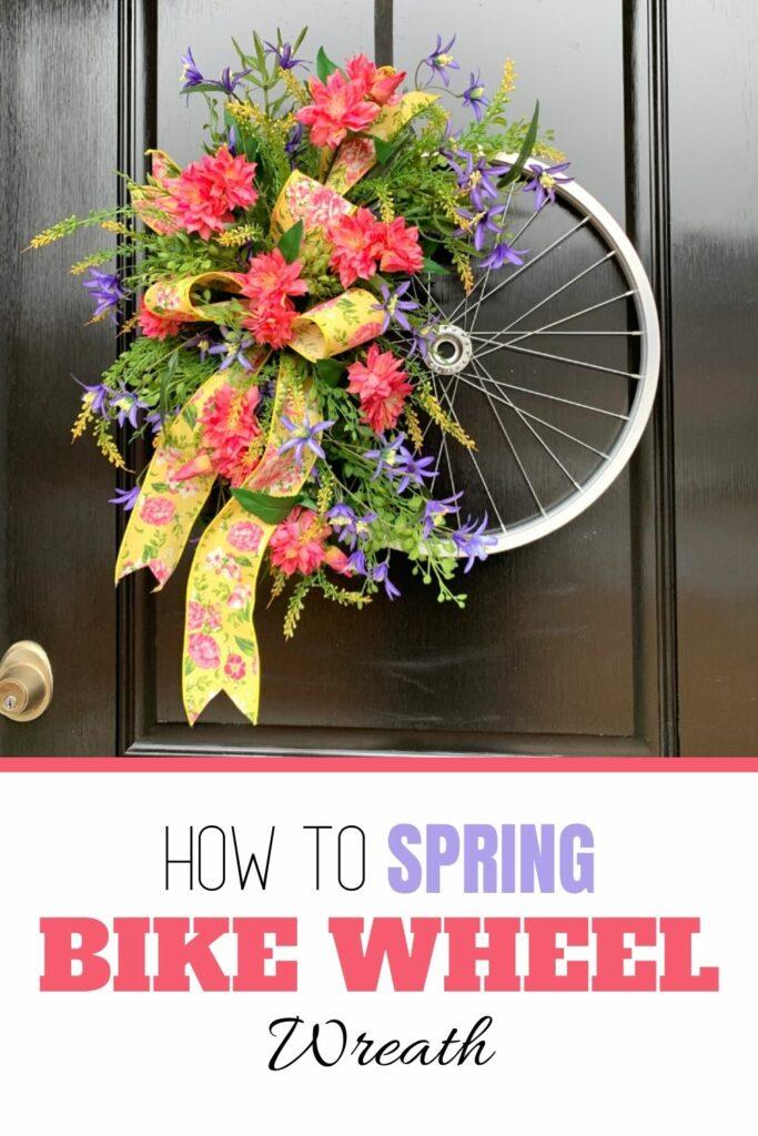 How to make a spring biike wheel wreath with silk flowers