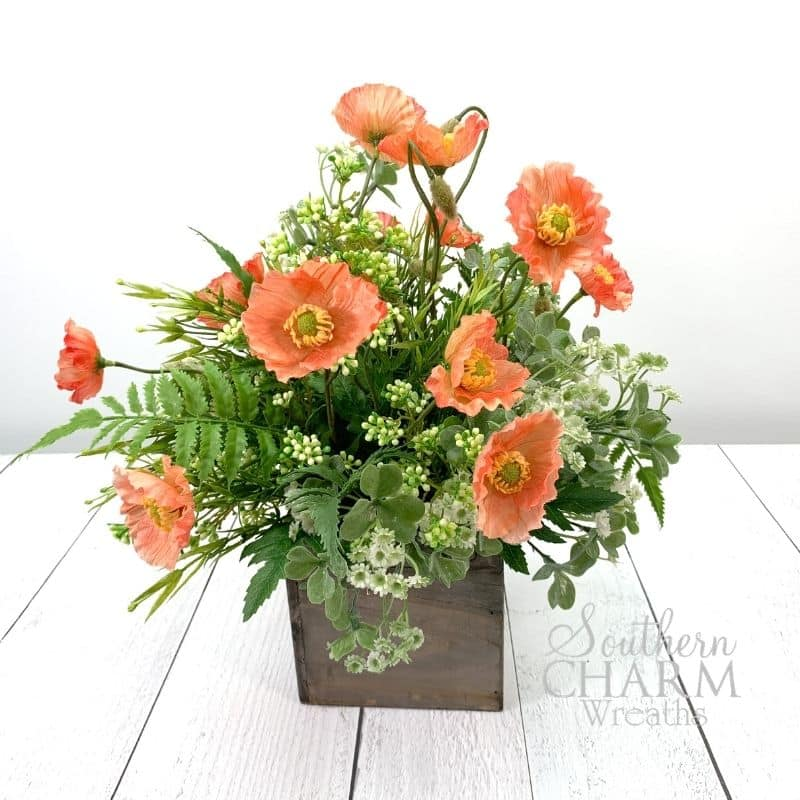 Faux Poppy Floral Arrangement For Mother's Day