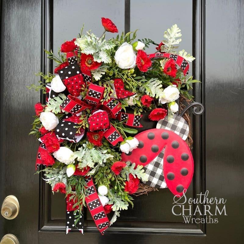 Silk flower ladybug wreath