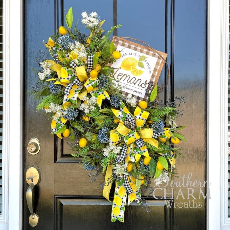 Silk Flower Summer Lemon Wreath on black door