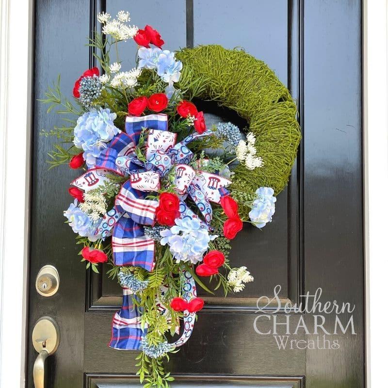 Patriotic Moss Wreath on a black door