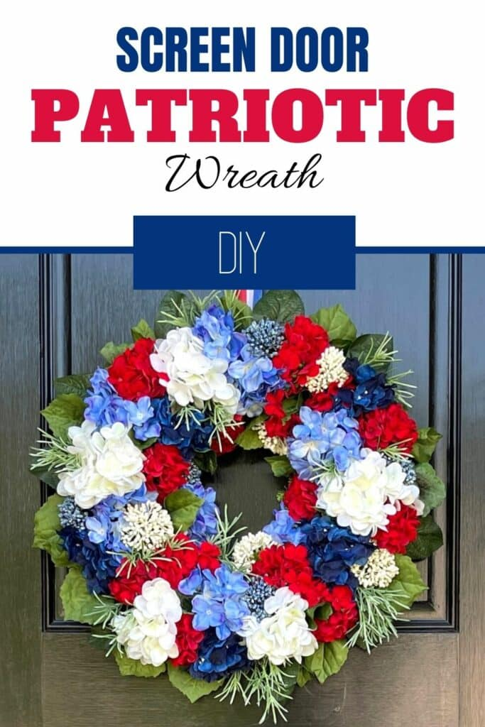 Red, White, and Blue Patriotic wreath on black door