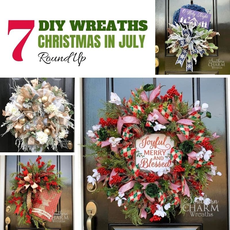 7 Easy DIY Christmas Wreath Ideas - Christmas in July Round Up