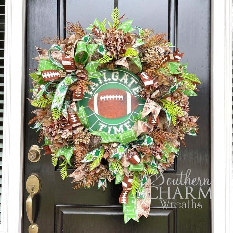 Deco Mesh Tailgate Time Football Wreath