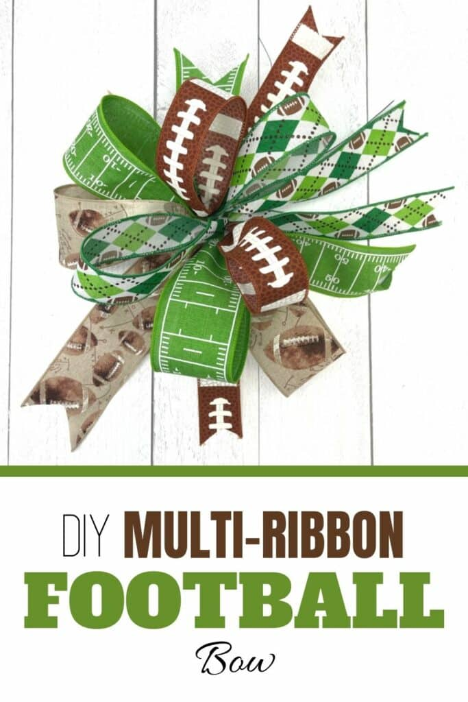 Multi-ribbon football theme bow