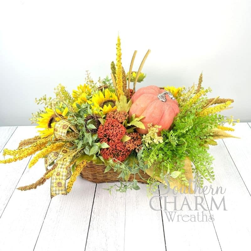 Fall Sunflower Pumpkin Basket on white background