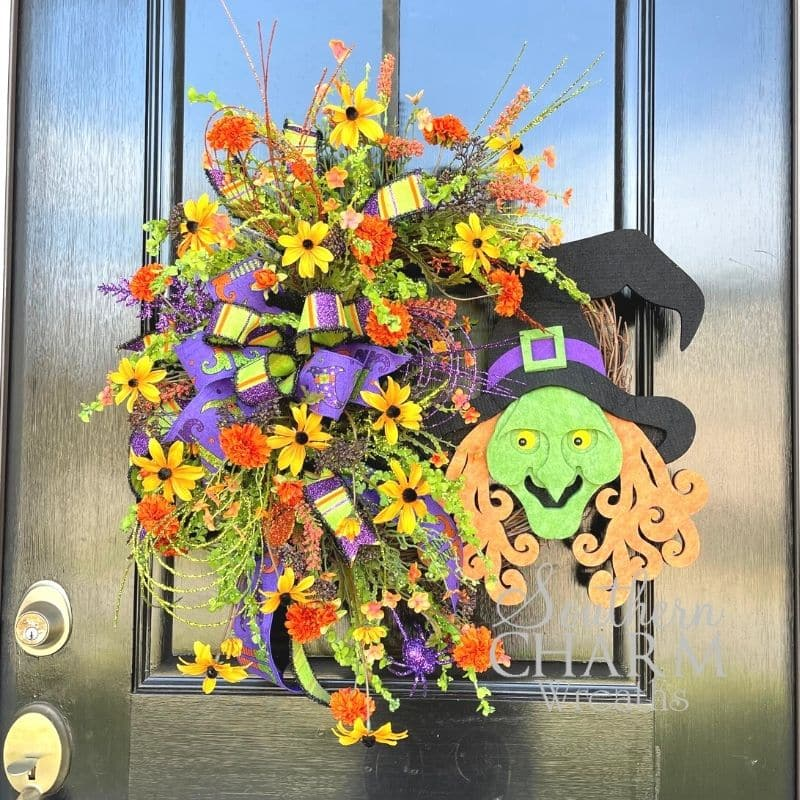 DIY Halloween witch wreath with florals and sign
