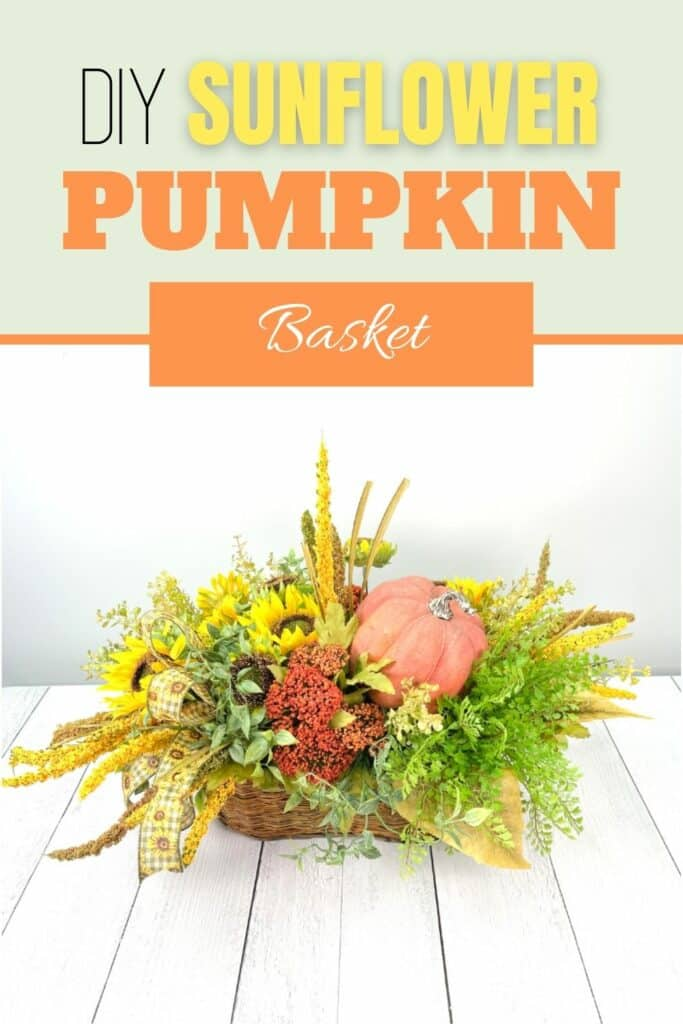 DIY Fall Sunflower Pumpkin Basket on white background